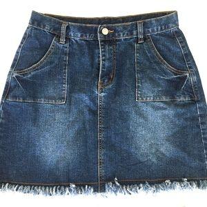 Hayden Los Angeles | Fringed Denim Skirt Pockets